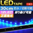 LEDテープ12連30cm 正面発光LEDテープブルー1本 防水LEDテープ 切断可能なLEDテープ as190