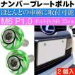 ナンバープレートボルト ネジ カラーワッシャー 緑2個 ビス M6 P1.0 フロント部の雰囲気が変わる as1759