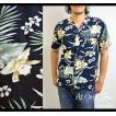 アロハシャツ メンズ ハワイ ハイビスカス 花柄 ネイビー 12 アロハ シャツ 大きいサイズ 3L(XXL) レーヨン