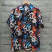 FUKUWAUCHI 抱き鯉柄 アロハシャツ 半袖 和柄 シルク30% コットン70% 日本製
