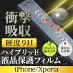 ハイブリッド 液晶保護フィルムiPhoneSE/XR/Max/Xs/X/8/7 Xperia XZ2/XZ2 Compact/XZ1 光沢 指紋防止 衝撃吸収 表面硬度9H 日本製 キズ防止 AIF-HB