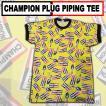 ajito CHAMPION PLUG 総柄 パイピング Tシャツ チャンピオン プラグ イエロー 黄色 メンズ カットソー デッドストック アメリカン バイク アメカジ