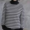 ニット レディース レディース トップス 長袖 柄  2018 秋冬 冬 50代 40代 ファッション 女性 黒 グレー