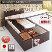 ベッド セミダブル ベッド 跳ね上げ 薄型スタンダードボンネルコイル 縦開き 深さラージ 組立設置付