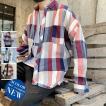 長袖シャツ シャツ メンズ 長袖 カジュアルシャツ カラー配色 チェックシャツ トップス おしゃれ 2019秋冬 新作