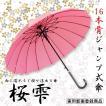 傘 レディース おしゃれ 京都花舞妓 桜雫  雨に濡れると桜柄が浮き出る16骨 ワンタッチ式 ジャンプ傘 バレンタインデー プレゼント
