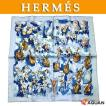 HERMES エルメス カレ45 プチスカーフ CONCERTO オーケストラ シルク100% ブルー 未使用
