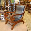 リラックスチェア・一人掛けソファ・Roll Chair・・・チーク&レザー・オリジナル家具・インドネシア直輸入・レザーソファ