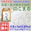 【送料無料】令和2年産 熊本県あさぎり町産にこまる白米4.5kg(玄米5kg)【低農薬栽培/化学肥料不使用】
