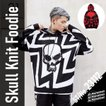 スカルニットジャガードフーディー メンズ パーカー セーター フード プルオーバー ドクロ ロック ストリートファッション