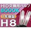 HID交換用バルブ / H8 / 8000K / 2個セット / 1年保証 / 25W-35W-55W対応 / 12V