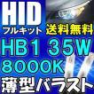 HIDフルキット / HB1 / 35W 薄型バラスト /  8000K  / リレーハーネス付き / 保証付き