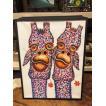 バリ製 アジアンスタイル 絵画 油絵 木製フレーム付 ビビットカラー ドットアート キリン ポップアート