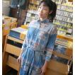 オルテガ柄 ロングシャツワンピース ( ブルー )-R- デニム 7分袖 七分袖シャツ カジュアル アメカジ 青色