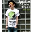 American Monster(green apple) Tシャツ -G- パンクロックTシャツ メッセージ 林檎 リンゴ アップル 半袖