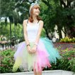 【チュールスカート特集】可愛いチュールスカート、フリルスカート、ブルマースカート、ふわふわチュールレース、50cm、色組み合わせ ly18