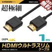 HDMIケーブル ウルトラスリム 1m 100cm 超極細 直径約3mm Ver2.0 4K 60Hz Nintendo switch PS4 XboxOne 送料無料