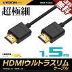 HDMIケーブル ウルトラスリム 1.5m 150cm 超極細 直径約3mm Ver2.0 4K 60Hz Nintendo switch PS4 XboxOne 送料無料