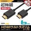 HDMIケーブル ウルトラスリム 6m 600cm 超極細 直径約4mm Ver1.4 4K Nintendo switch PS4 XboxOne 増幅器内蔵 送料無料