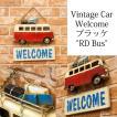看板 壁面装飾  ウォールデコレーション インテリア雑貨 ビンテージ プラッケ ウェルカム レッド バス 送料無料