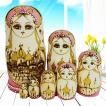 マトリョーシカ ロシア 人形 手作り お土産 動物 ぬいぐるみ ヨーロッパ ロシア土産 伝統木製 かわいい贈り物 手塗り おもちゃ ロシア民芸 家族 飾り