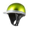 ヘルメット コルク半キャップ 三つボタン グリーンラメ 新品 半ヘル 57cm〜60cm未満 半帽 バイクパーツセンター