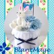 おむつケーキ 出産祝い プリザーブドフラワー パンパース ミニおむつケーキ ラビット(ブルー)