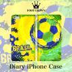 iPhoneX iPhone8 7 6s 6 plus SE 5s 5 手帳 全機種 スマホ ケース サッカー ネイマール ブラジル 国 フラッグ ボール ワールドカップ