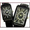 ALESSANDRA OLLA(アレサンドラ オーラ)ペアウォッチ 腕時計 ブラック/ゴールド文字盤 ブラックレザーベルト(送料無料)AO-4500B-BG/AO-1500B-18BG