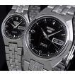 SEIKO/SEIKO5セイコー5/セイコーファイブペアウォッチ 自動巻腕時計 メタルベルト ブラック文字盤 MADE IN JAPAN 海外モデル SNKL71J1/SYMK43J1