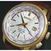 SEIKO / KINETIC セイコー / キネテック GMT メンズ腕時計 ゴールドケース シルバー文字盤 ブラウンレザーベルトSUN070P1 海外モデル