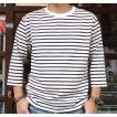 ★SPRINGFORD★BUDDY オリジナル 3/4スリーブ ボーダーTシャツ(オフホワイト×ネイビー)アメカジ 七分袖