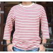 バディ SPRINGFORD BUDDY オリジナル 3/4スリーブ ボーダーTシャツ(アイボリー×レッド)アメカジ 七分袖
