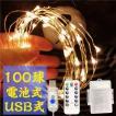 ワイヤーライト 100球 10m ストレート リモコン付 USB...