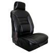 【 ブラックレザー/ブラックステッチ 】 2t/4t/大型トラック用 50mm厚 腰当てクッション付き 合成皮革レザーシートカバー フリーサイズ 運転席用1枚