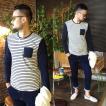 バイカラー Tシャツ カットソー メンズ ボーダー クルーネック バイカラーボーダーTシャツ SLOWGAN スローガン