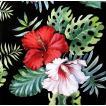 Ambiente オランダ ペーパーナプキン ハイビスカス 花 Hisbiscus Floral Black 13313147 バラ売り2枚1セット デコパージュ ドリパージュ