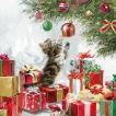 Ambiente オランダ ペーパーナプキン Kitten and Baubles  猫とクリスマスの飾り球 33310525 バラ売り2枚1セット デコパージュ ドリパージュ