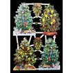 作品販売可能 ドイツ製クロモス 1シート 7390 ラメ無 コラージュ デコパージュなどのハンドメイド素材に 4本のクリスマスツリー 4 Tannenbaume