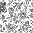 PPD ドイツ ペーパーナプキン ペイズリー柄 Paisley white black バラ売り2枚1セット L-133-2472 デコパージュ ドリパージュ