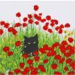PPD ドイツ ペーパーナプキン Lunch napkins 黒猫とポピー Black Cat Poppies バラ売り2枚1セット L-133-2807 デコパージュ ドリパージュ