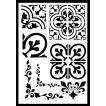 ステンシルA4大サイズ プレート デザインプレート モチーフ STENCIL PATTERN クラフト ペイント スタンプ インクパッド エレガント タイル 072-16