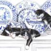 ti-flair ドイツ製ペーパーナプキン 中国食器をいたずらする黒猫 Black Cats with China 372615 バラ売り2枚1セット デコパージュ ドリパージュ