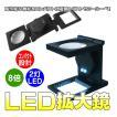 LED付き ルーペ 8倍 拡大鏡 折り畳み 可能 白色 LED 2灯 ゆうパケットで送料無料 CHI-9005B