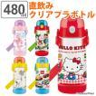 水筒 直飲み プラスチック ワンプッシュボトル 480ml 子供 キャラクター 軽量 ( キッズ 幼稚園 保育園 子供用水筒 )