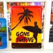 ブリキプレート「GONE SURFING」【看板、ウォールデコレーション、インテリア、アメリカン雑貨】