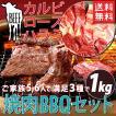 送料無料 焼肉セット 3種 合計1kg ハラミ ロース カルビ 牛 牛肉 焼肉 バーベキュー セット 肉 BBQ キャンプ 冷凍