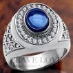 (メンズリング・男の指輪) 豪華デザイン メンズ ステンレス リング/指輪/RM14/ サファイア カラー ブルー 青色 / ダイヤモンド 色 / ラグジュアリー / 幅広