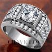 (メンズリング・男の指輪) 豪華デザイン メンズ ステンレス リング/指輪/RM20/ ラグジュアリー / ダイヤモンド カラー/ プラチナ シルバー カラー/ 幅広
