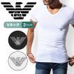 Tシャツ メンズ ブランド エンポリオアルマーニ 半袖 Vネック トップス カットソー 大きいサイズ EMPORIO ARMANI